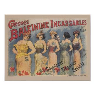 Vintager französischer Wäsche-Polterabend 10,8 X 14 Cm Einladungskarte