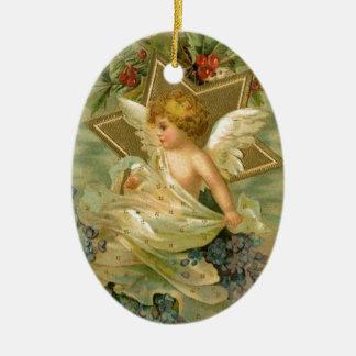 Vintager freudiger Weihnachtsengel Ovales Keramik Ornament