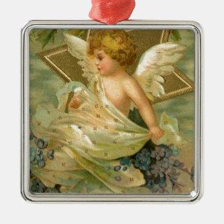 Vintager freudiger Weihnachtsengel Quadratisches Silberfarbenes Ornament