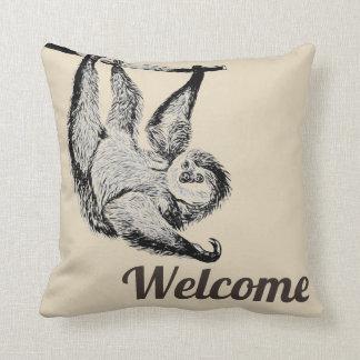 Vintager freundlicher Sloth - Willkommen Kissen