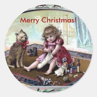 Vintager frohe Weihnacht-Aufkleber
