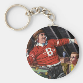 Vintager Fußball-Vati und Sohn Standard Runder Schlüsselanhänger