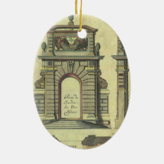 Vintager Gartentor-Bogen, Renaissance-Architektur Ovales Keramik Ornament