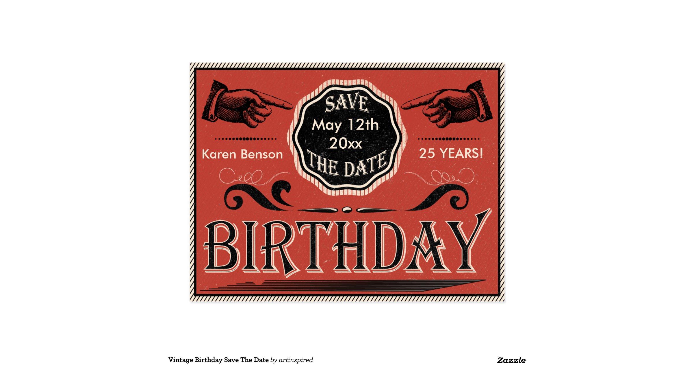 vintager geburtstag save the date postkarten zazzle. Black Bedroom Furniture Sets. Home Design Ideas