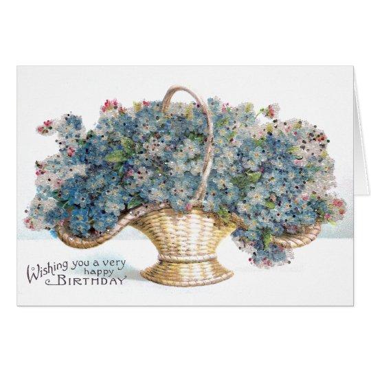 Vintager Geburtstags-wulstiger Korb der blauen Grußkarte