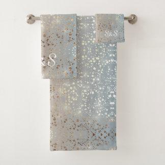 Vintager gedämpfter Goldstern-Folien-Schein des Badhandtuch Set