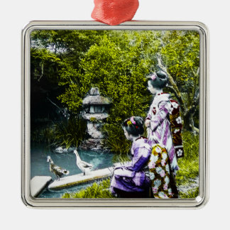Vintager Geisha-aufpassende Enten im Park altes Quadratisches Silberfarbenes Ornament
