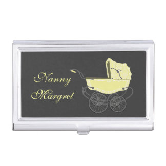 Vintager gelber Babypram-Geschäfts-Kartenhalter Visitenkarten-Halter