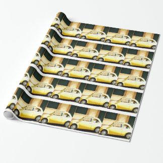 Vintager gelber Fiat 500 in Italien Geschenkpapierrolle