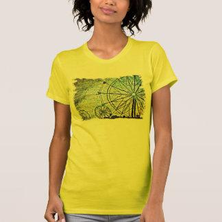 Vintager gelber Riesenrad-Frauen Spitzen T-Shirt