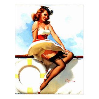 Vintager Gil Elvgren Seemann-SeeButton herauf Postkarte