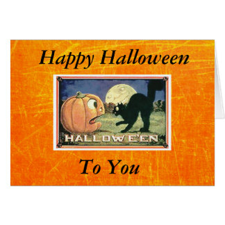 Vintager glücklicher Halloween-Kürbis mit Karte