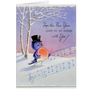 Vintager glückliches neues Jahr-Vogel Karte