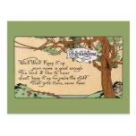 Vintager Glückwunschvers und Baum Postkarten