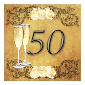 Vintager goldener Jahrestag Quadratische 13,3 Cm Einladungskarte