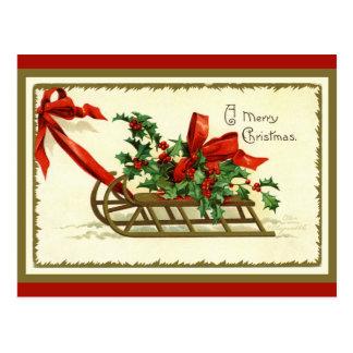 Vintager goldener WeihnachtsSleigh Postkarte