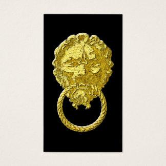 Vintager Goldlöwe-Tür-Klopfer Visitenkarte