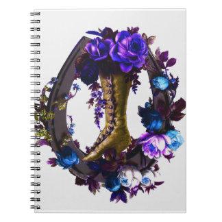 Vintager Goth Blumenstiefel u. glückliches Spiral Notizblock