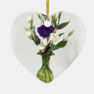 Vintager grüner Vase mit Blumen Keramik Herz-Ornament