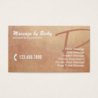 Vintager Grunge-alte Massage-Therapie Visitenkarte