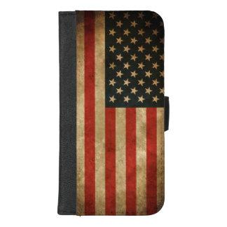 Vintager Grunge-amerikanische Flagge - USA iPhone 8/7 Plus Geldbeutel-Hülle