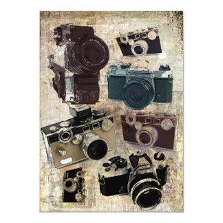 Vintager Grunge-Retro Kamera-Muster 12,7 X 17,8 Cm Einladungskarte