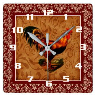 Vintager Hahn auf einem rustikalen Damast Muster Quadratische Wanduhr
