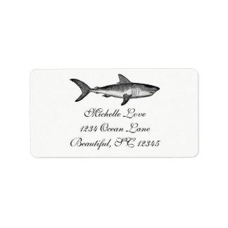 Vintager Haifisch-Ozean-Strand-Schwarz-weiße Adress Aufkleber