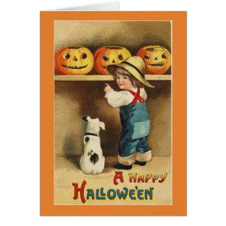 Vintager Halloween-Junge Karte
