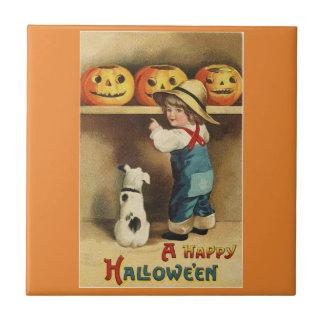 Vintager Halloween-Junge Keramikfliese