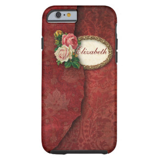 Vintager heftiger Damast und rosa Rosen Tough iPhone 6 Hülle