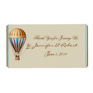 Vintager Heißluft-Ballon-Wasser-Flaschen-Aufkleber