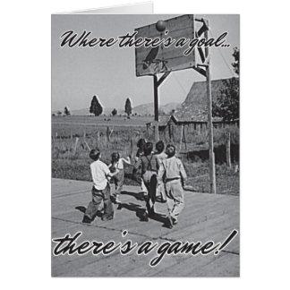 Vintager Hinterhof-Basketball Notecard Karte