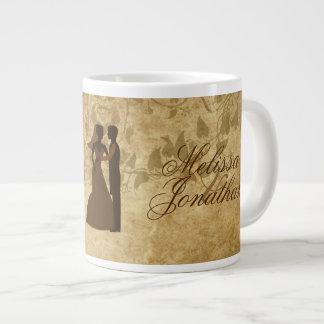 Vintager Hochzeit Braut-Bräutigam einst Jumbo-Mug