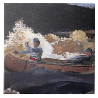 Vintager Homer, der die Rapids, Saguenay Fluss Fliese