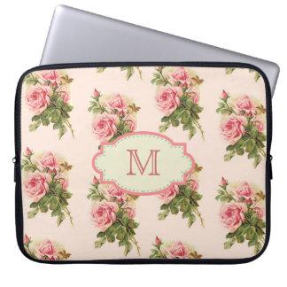 Vintager Hütten-Rosen-Monogramm-Fall Laptop Schutzhüllen