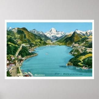 Vintager illustrierter Karte See Luzerne Poster
