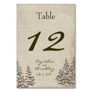 Vintager immergrüner Winter-Wedding Tischnummer