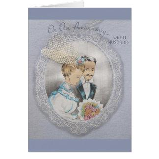 Vintager Jahrestag für Ehemann-Gruß-Karte Karte