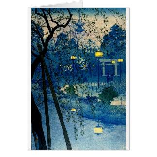 Vintager japanischer Abend im Blau Karte