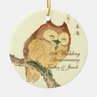 Vintager japanischer feine Kunst-Druck, Jahrestag Rundes Keramik Ornament