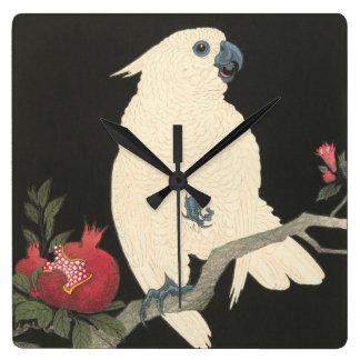 Vintager japanischer feiner Kunst  weißer Cockatoo Quadratische Wanduhr