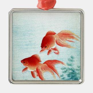 Vintager japanischer Fisch-Druck Silbernes Ornament
