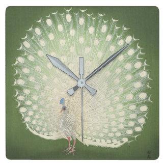 Vintager japanischer Pfau der feinen Kunst-  Quadratische Wanduhr