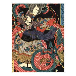 Vintager japanischer roter Drache Postkarte