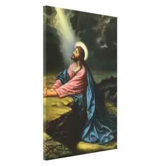 Vintager Jesus Christus, der in Gethsemane betet Leinwanddruck