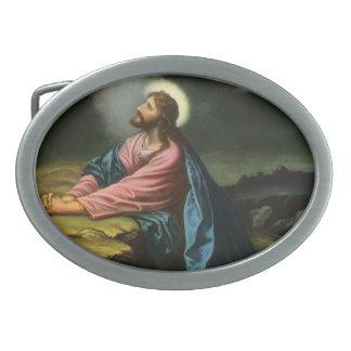 Vintager Jesus Christus, der in Gethsemane betet Ovale Gürtelschnallen