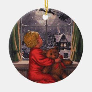 Vintager Junge, der Weihnachtsmann aufpasst, Keramik Ornament