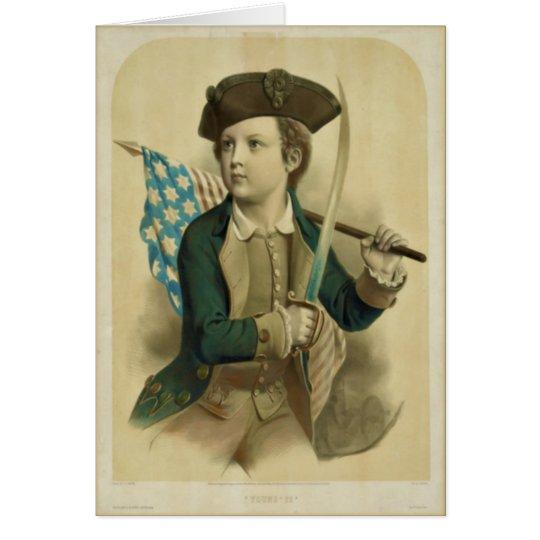 Vintager Junge mit amerikanische Mitteilungskarte