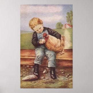 Vintager Junge und sein Haustier-Huhn Poster